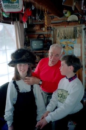 Norm and kids with porcupine hat - unknown from Stokely photo library